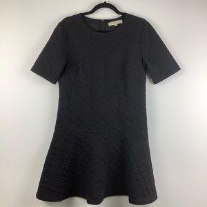 Ann Taylor Loft Textured Flounced Hem Dress Black